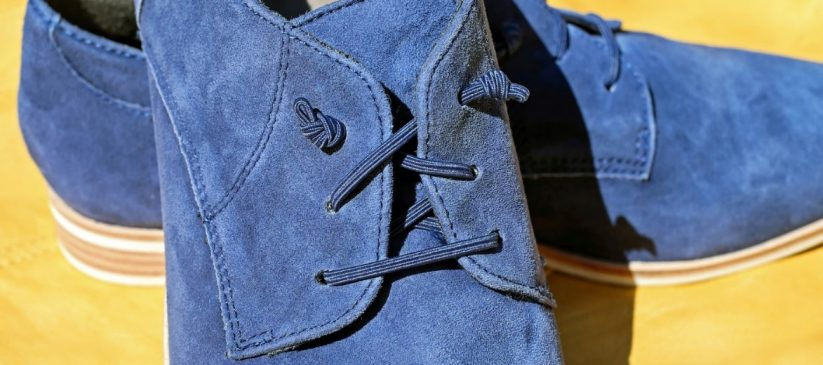 Blue suede shoes that need to be looked after with care