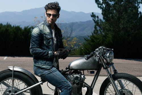 A man wearing leather jacket