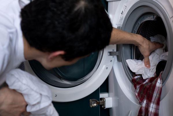 A man washing clothes
